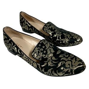 M. Gemi Black Gold Italy Loafers/Flats -9.5-40 1/2